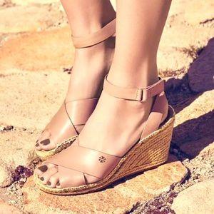 TORY Burch Bima Espadrille Wedge Sandals Size 8